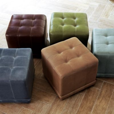 Excellent Leather Cube Ottoman Mariette Leather Footstool Round Short Links Chair Design For Home Short Linksinfo