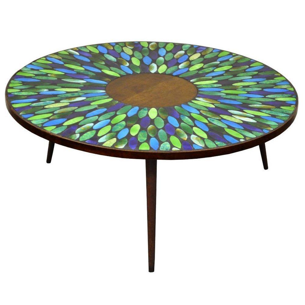 Vtg Mid Century Modern Jon Matin Mosaic Tile Top Round Coffee Table Danish Style Masa Tabure Kanape Kanapeler