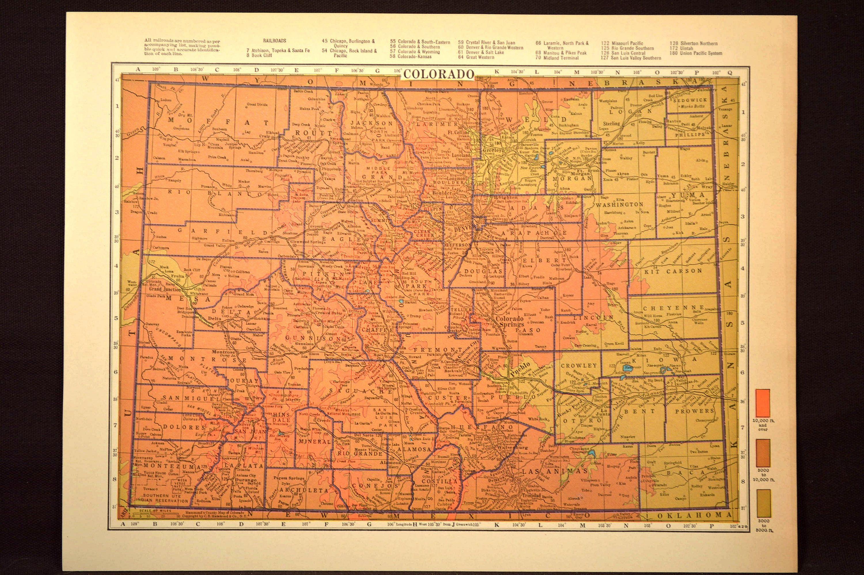 Colorado Map Of Colorado Wall Art Decor Topographic Map