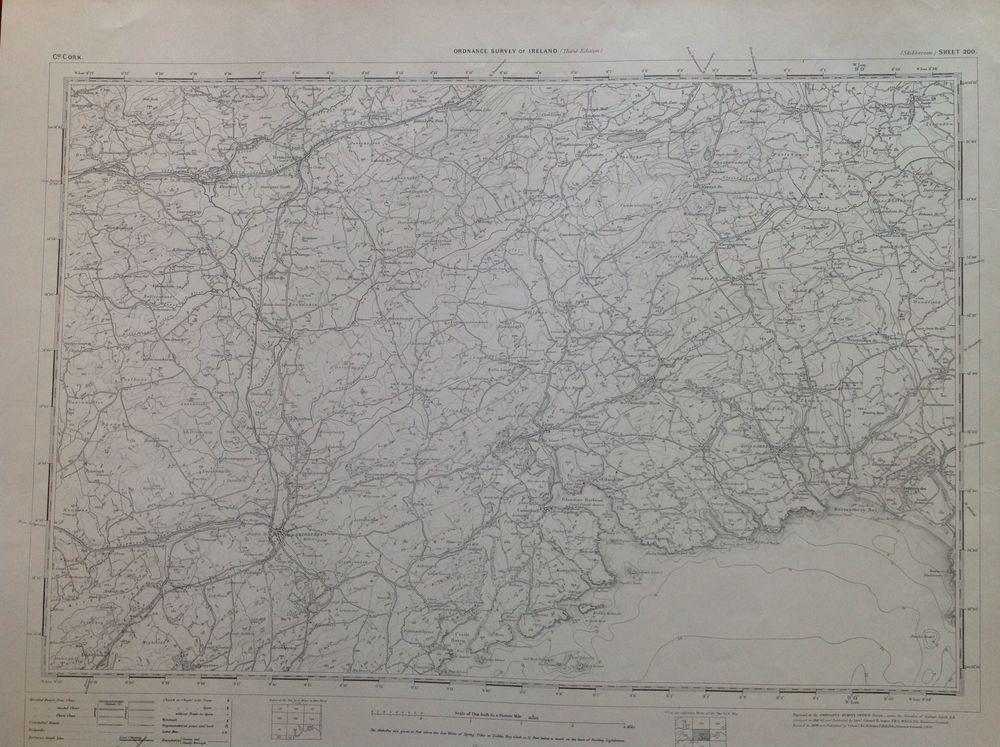 Skibbereen Ireland Map.Ordnance Survey Map Skibbereen Cork Ireland One Inch 1900 Version