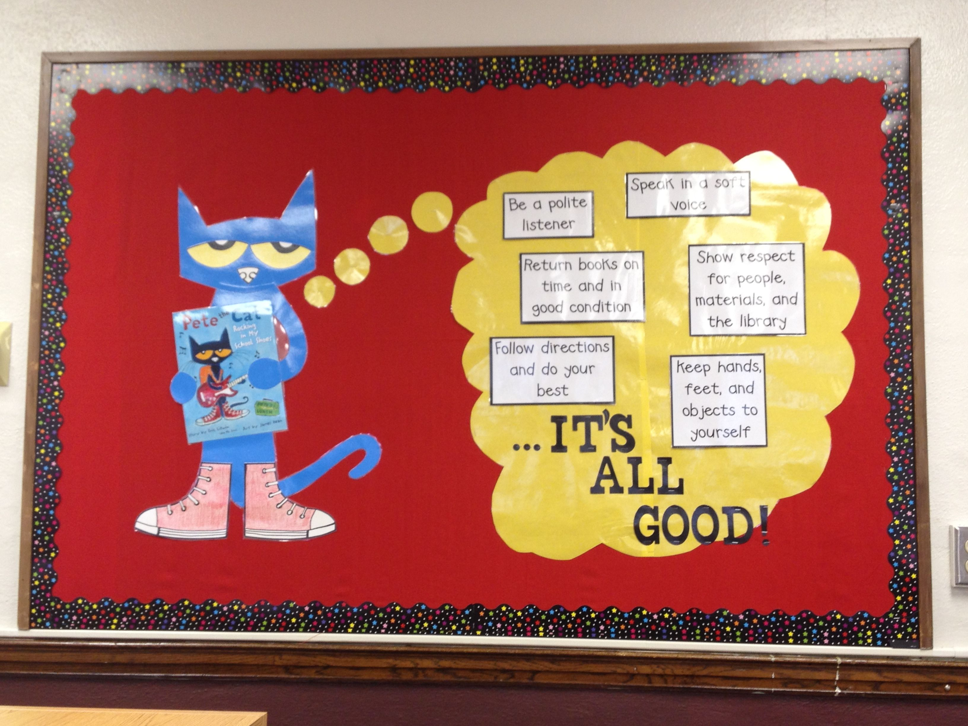 Pete The Cat Library Media Center Rules Bulletin Board