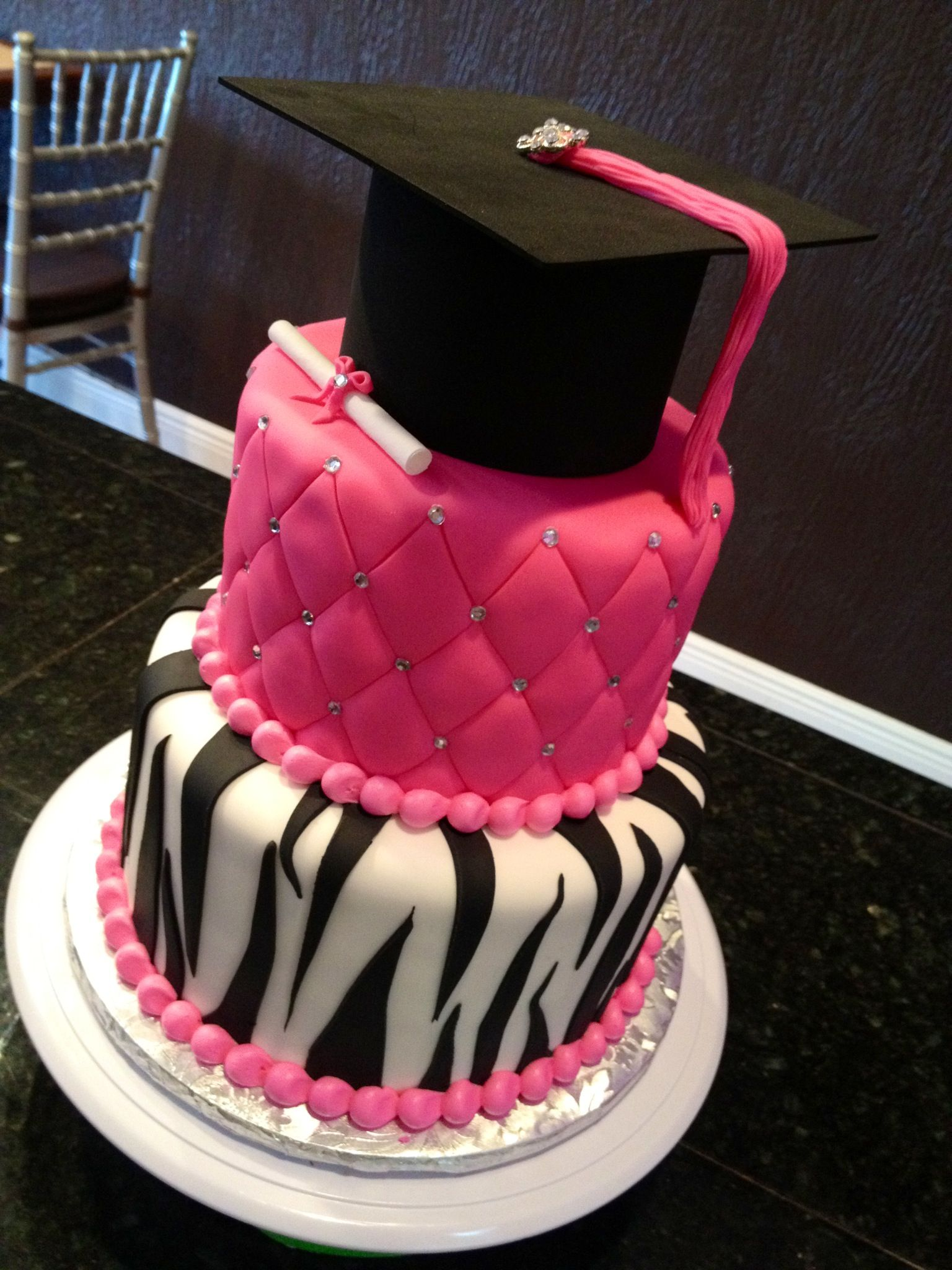 Hot Pink With Black And White Zebra Stripes Graduation Cake
