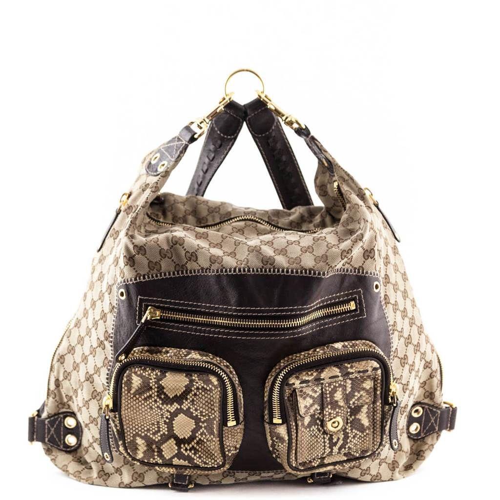 faf81285c215 Gucci Monogram Snakeskin Convertible Darwin Backpack - LOVE that BAG -  Preowned Authentic Designer Handbags