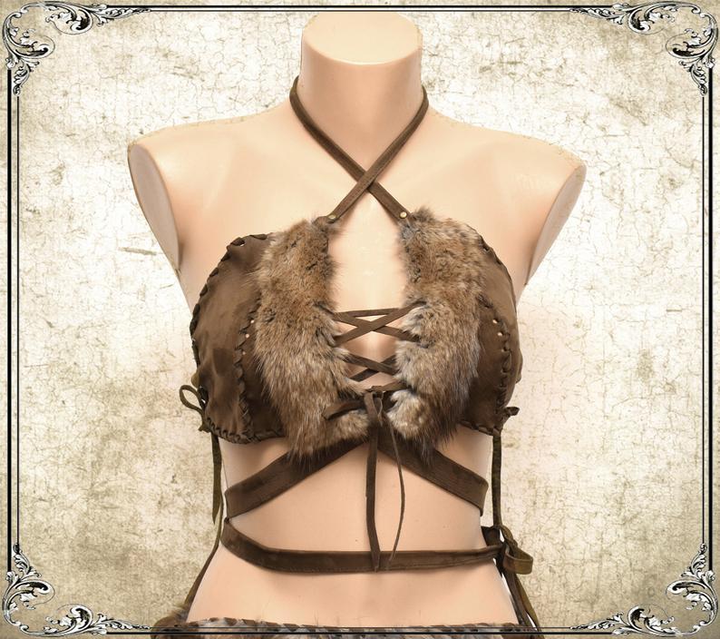 Viking Fur Crop Top Priestess Leather Halter Tribal Fusion