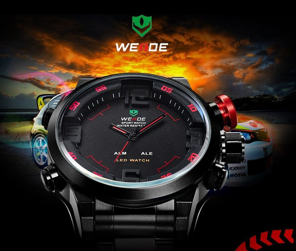 Fashion Military Clambing Sports Watches Dual Time Movement Quarts Digital LED Wrist Watch