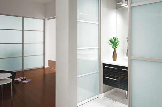 fitted sliding wardrobe frosted glass bathroom