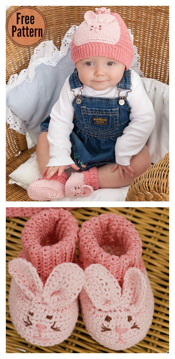 Cute Bunny Baby Hat Booties Free Crochet Pattern | Pinterest ...