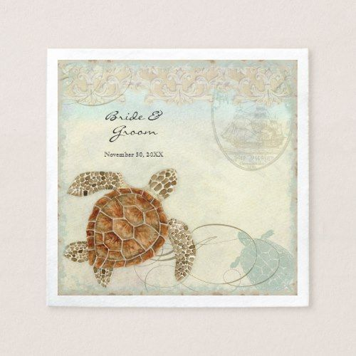 Dessert Reception Napkins Sea Turtle Ocean Beach
