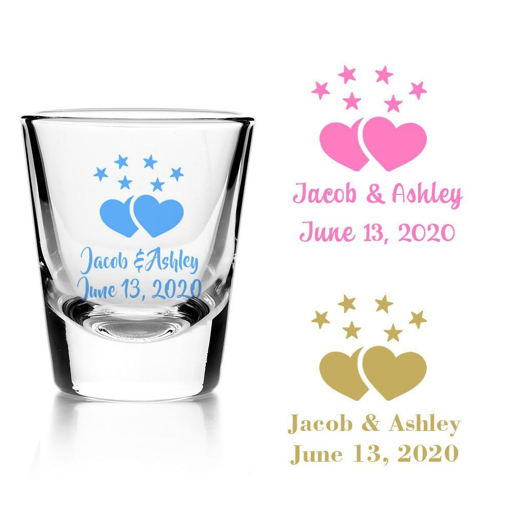 Set Of 24 Personalized Heart With Stars Design Bridal Shower Party