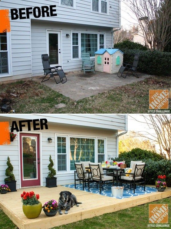 Discover The Details Of This Incredible Outdoor Before And After From Kelly Of View Along The Way And The Home Depot Backyard Patio Patio Small Patio Decor
