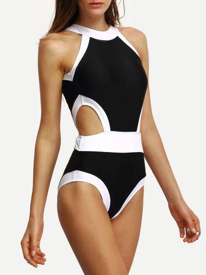 Contrast High Neck Cutout One Piece Swimwear One Piece Swimwear Beachwear For Women One Piece