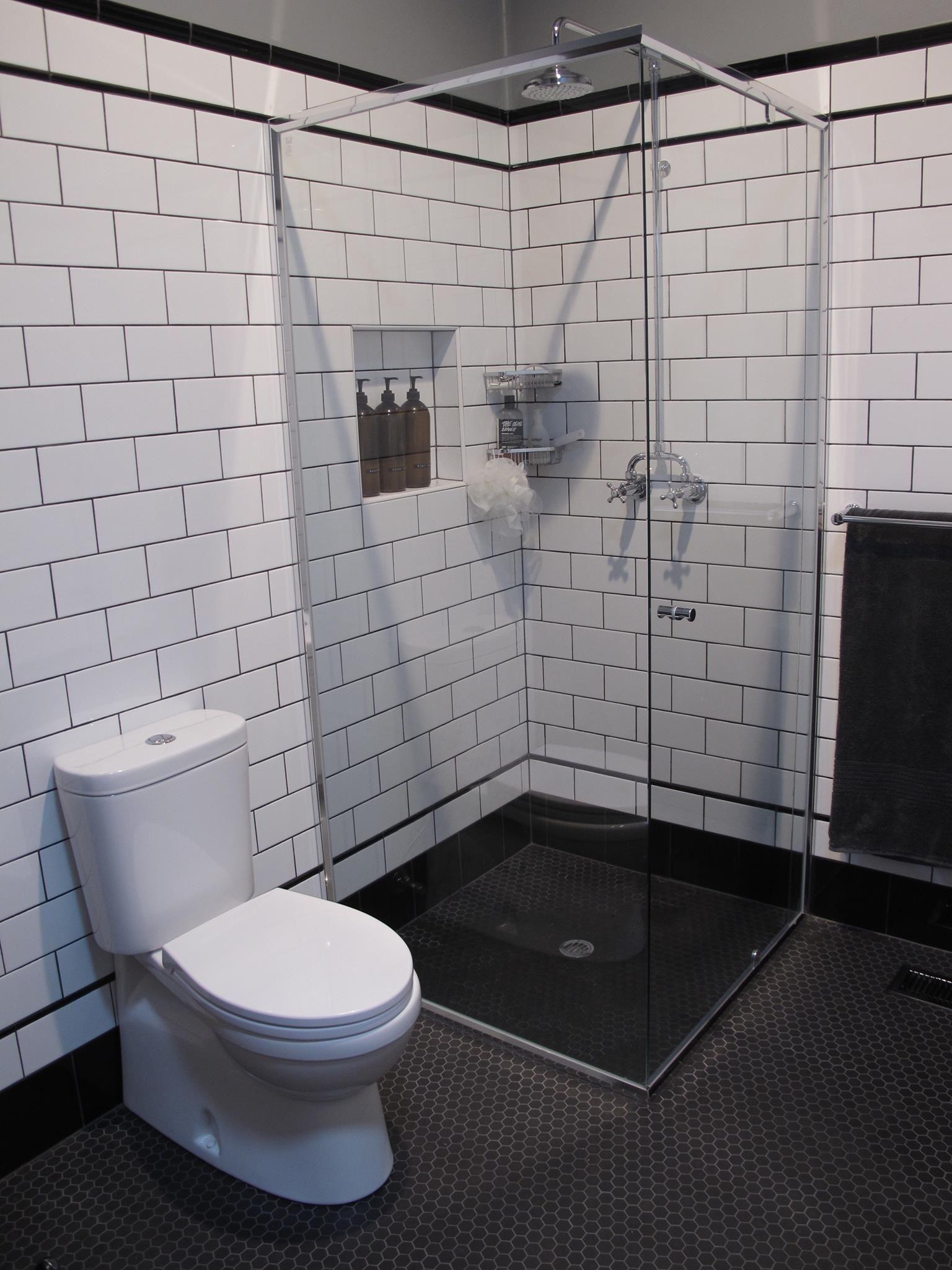 Bathroom Renovation No2 Black And White Subway Tiles Hexagonal