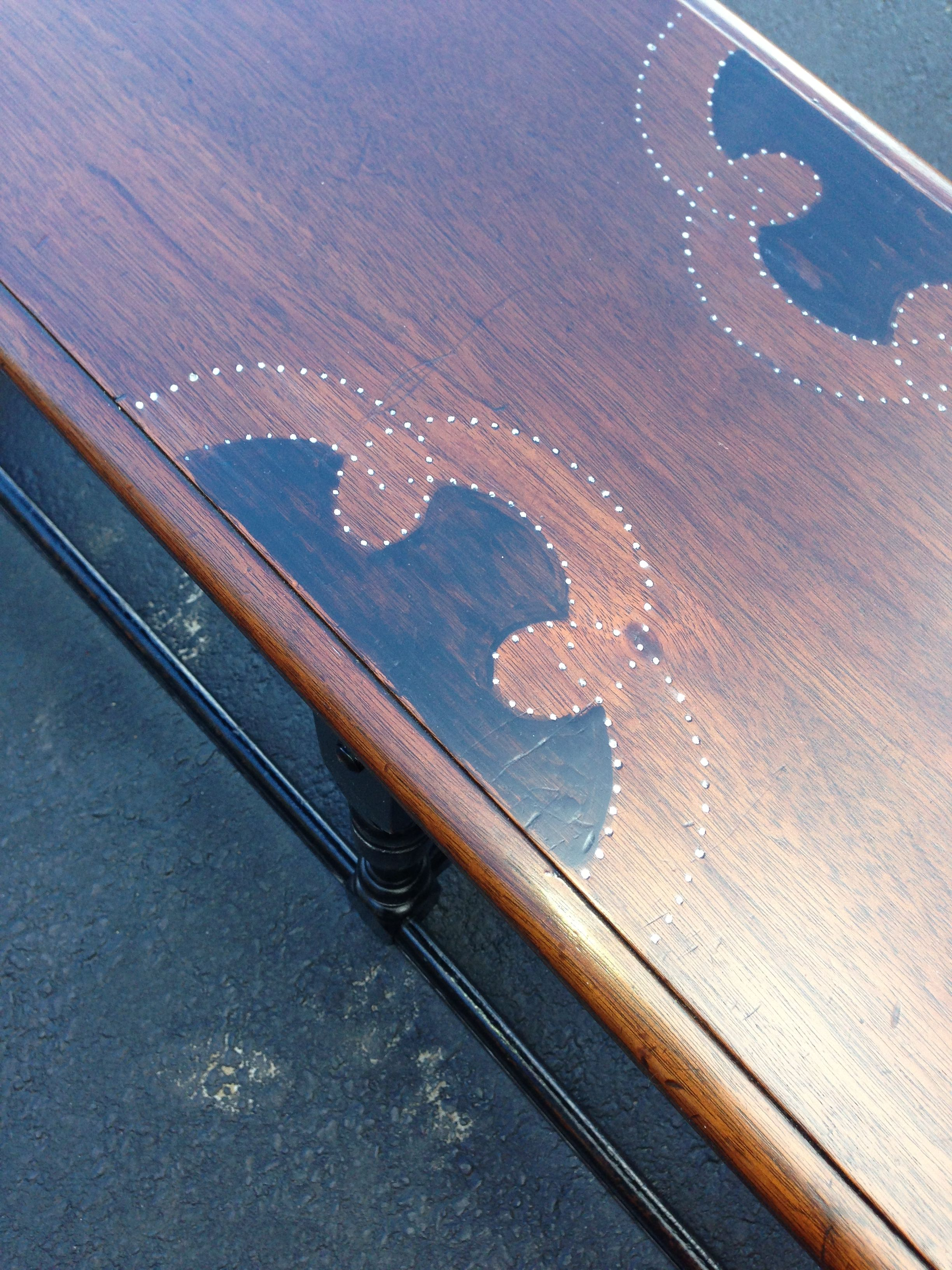 Refinished vintage bench, with three tone stain, distressed black legs, and silver wax accents.  Beautiful piece!