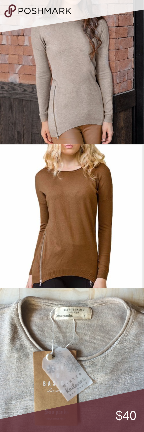 🎉Holiday Sale🎁🎈Knit Beige side zippers Sweater! 🎉Holiday Sale🎁🎈Knit Beige side zippers Sweater! Super soft, trendy and warm. Just in! Size M Sao Paolo Sweaters