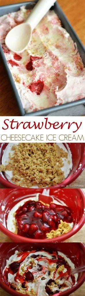 Easy Strawberry Cheesecake Ice Cream (no machine required) #cheesecakeicecream