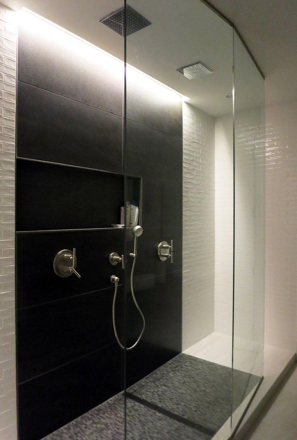 Bathroom Renovation EDGE Design Spacious Double Shower Custom Angular Glass Enclosure Cove Lighting