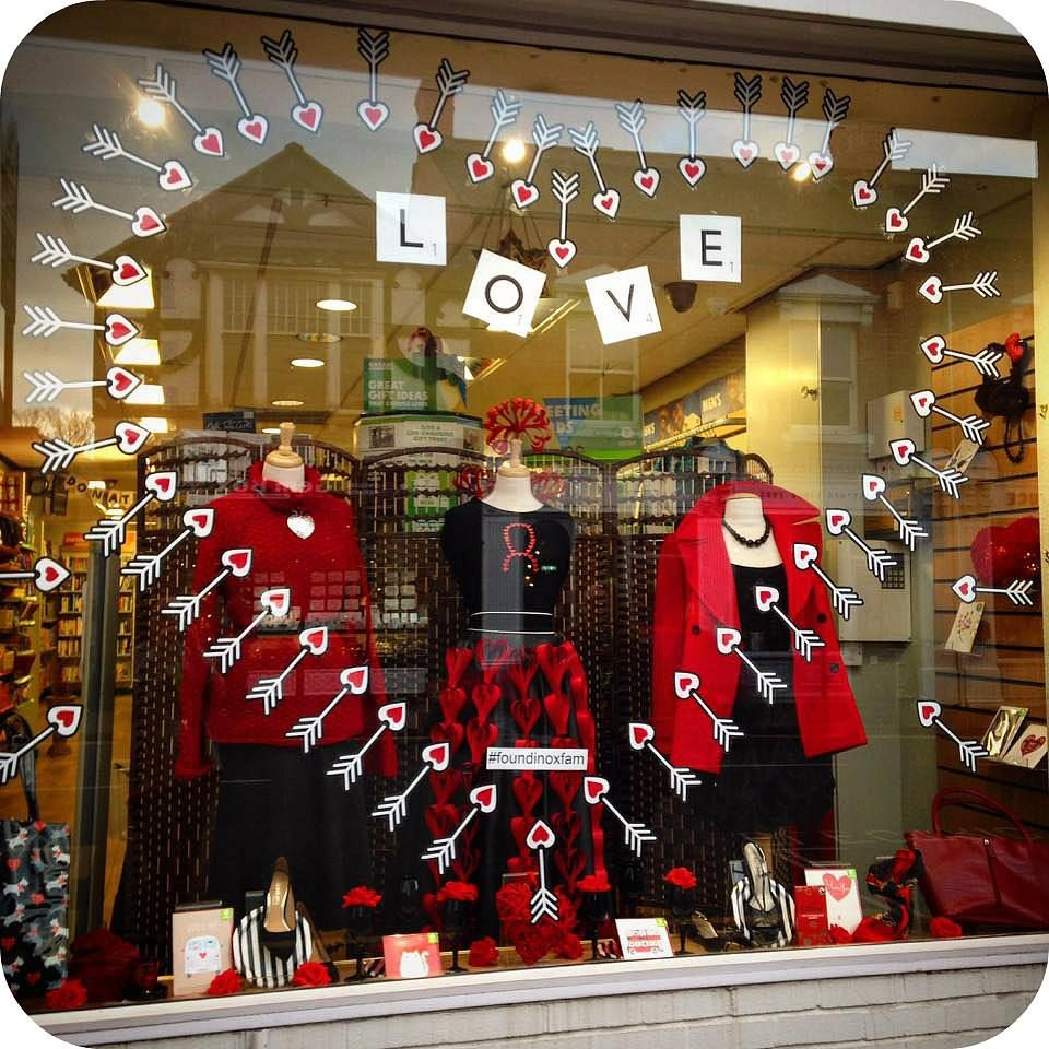 Oxfam Christmas Trees: Top 10 Charity Shop Valentine's Window Displays 2018
