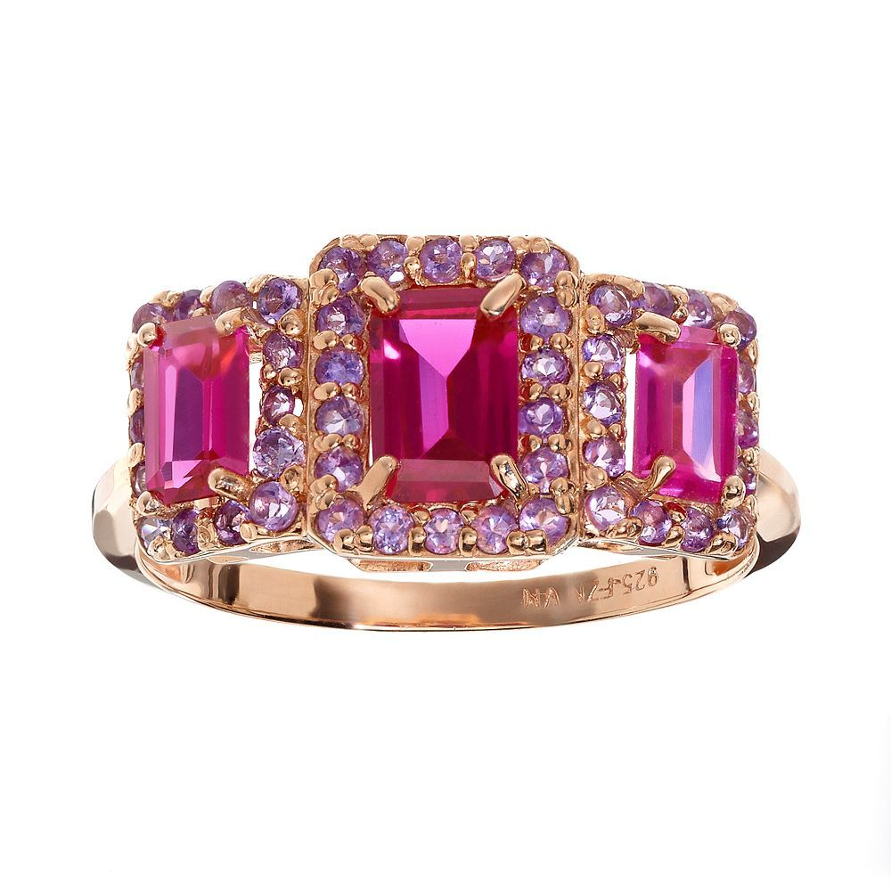 Lab-Created Ruby and Amethyst 14k Rose Gold Over Silver Rectangle Halo Ring, Women's, Size: 5, Other Clrs