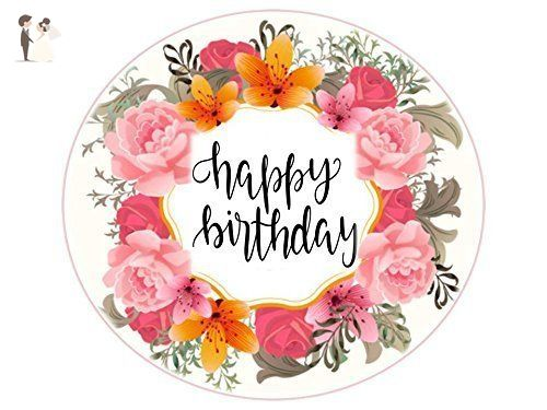Swell Edible Image Cake Topper Happy Birthday 8 In Round Flower Funny Birthday Cards Online Barepcheapnameinfo