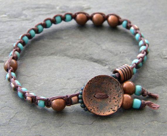 Teal Blue Knotted Bracelet Macrame Beaded by dreambelledesign, $28.00