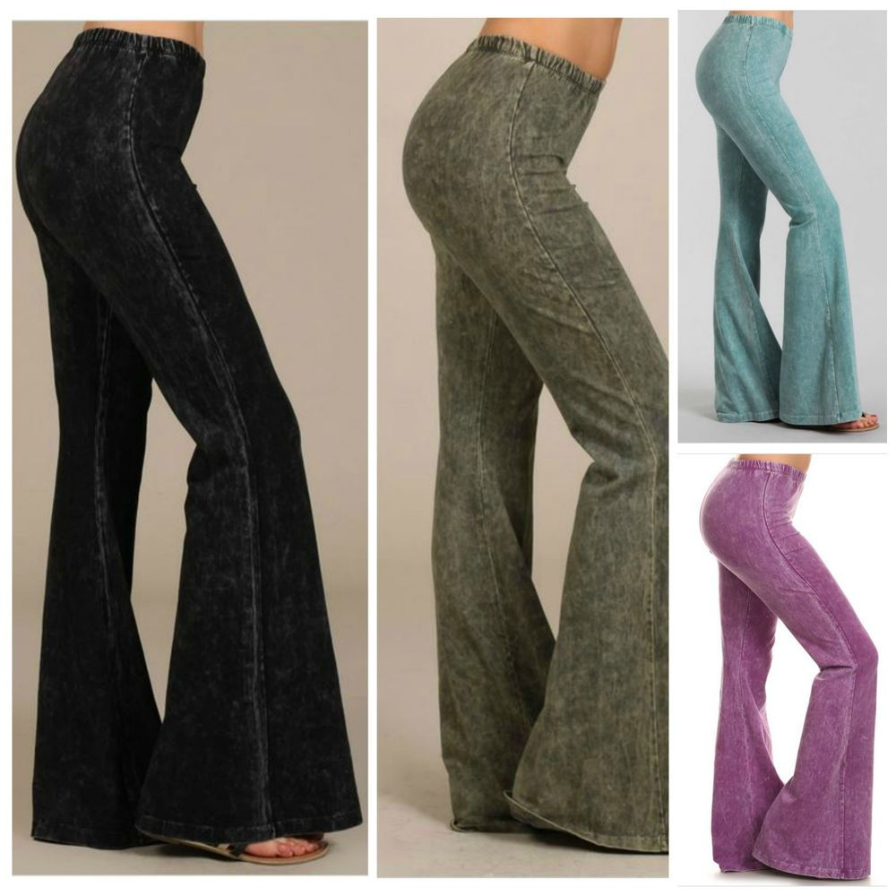 96881109d3e Black Stone Effect Hippie Boho Bell Bottom Flare Stretch Pants Soft Yoga S  M L  BayouBoutique  CasualPants