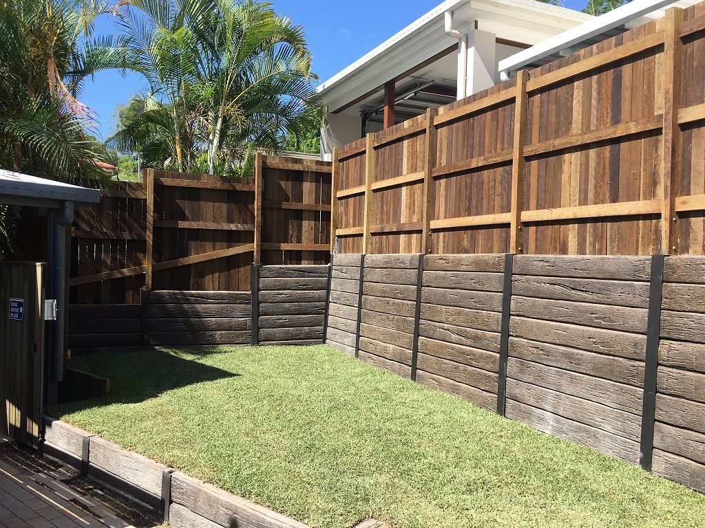 20 retaining/fence wall ideas   retaining wall, concrete sleepers ...