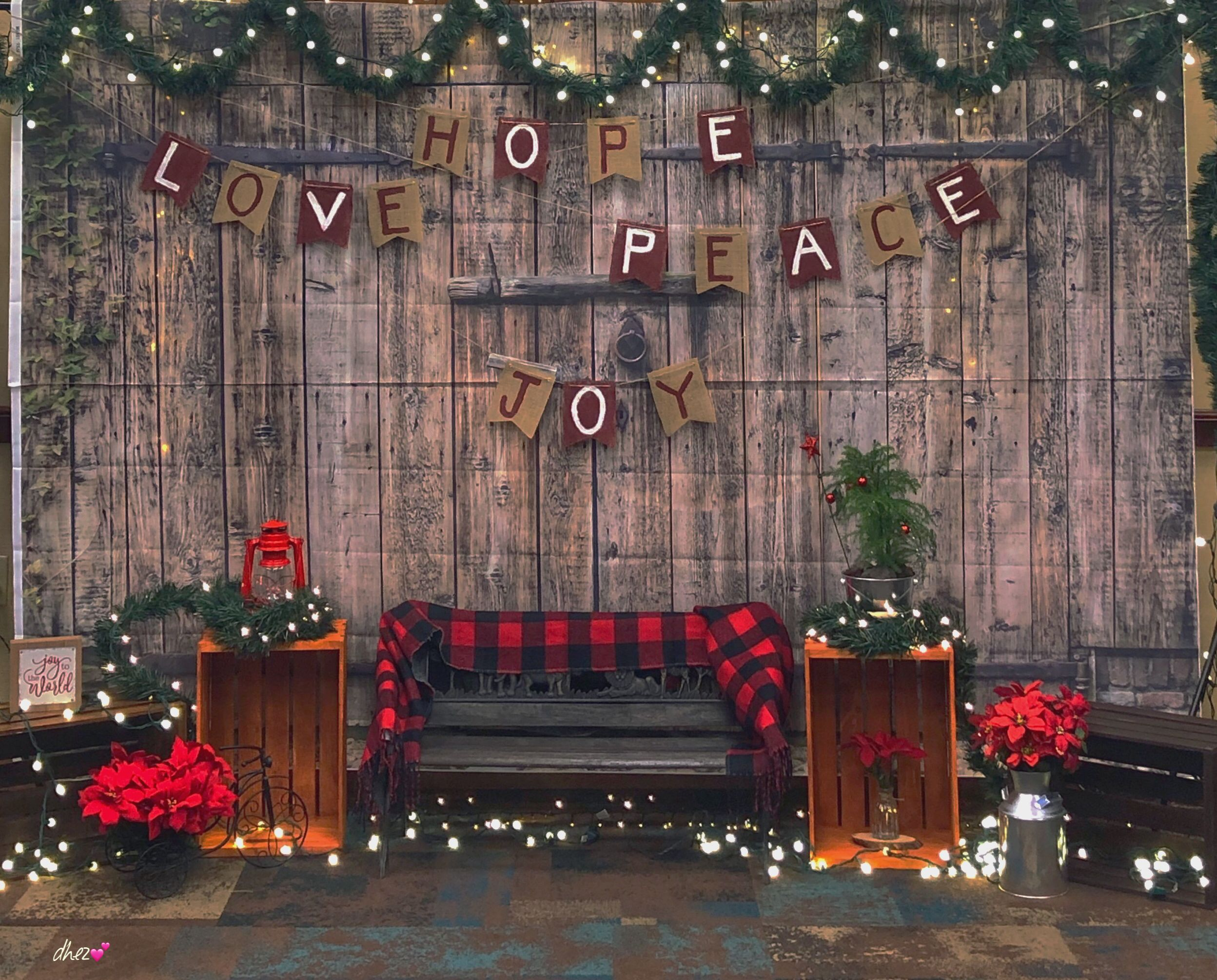 Our Rustic Christmas Backdrop Stage Christmas Stage Decorations Diy Christmas Backdrop Christmas Photo Booth