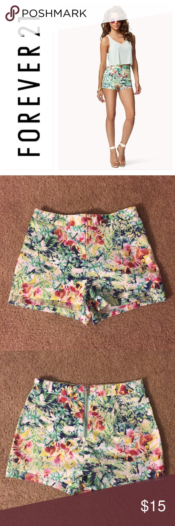 New ArrivalForever21 high waist tropical short Super cute high-waisted shorts in tropical floral pattern. 98% cotton, 2% spandex. Zips up the back. 1 1/2 inch inseam. Size medium. Excellent condition! Make me an offer! Forever 21 Shorts