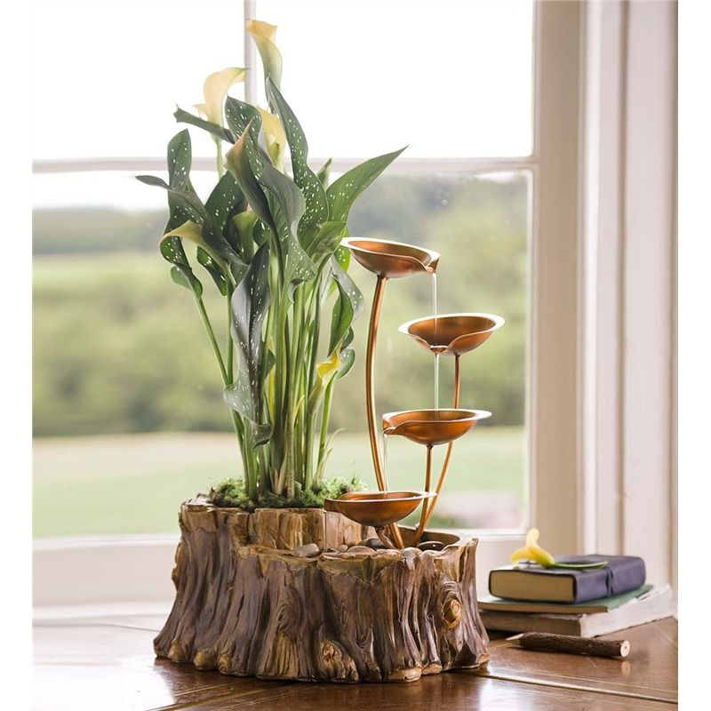 Tabletop Fountain With Planter In Indoor Fountains Diy Fountain