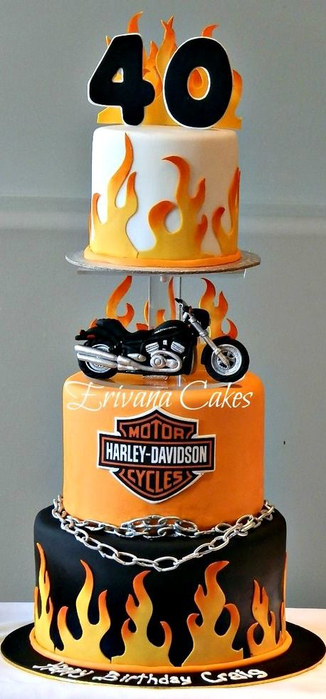 Harley Davidson Motorcycle Cake With Images Motorcycle Cake