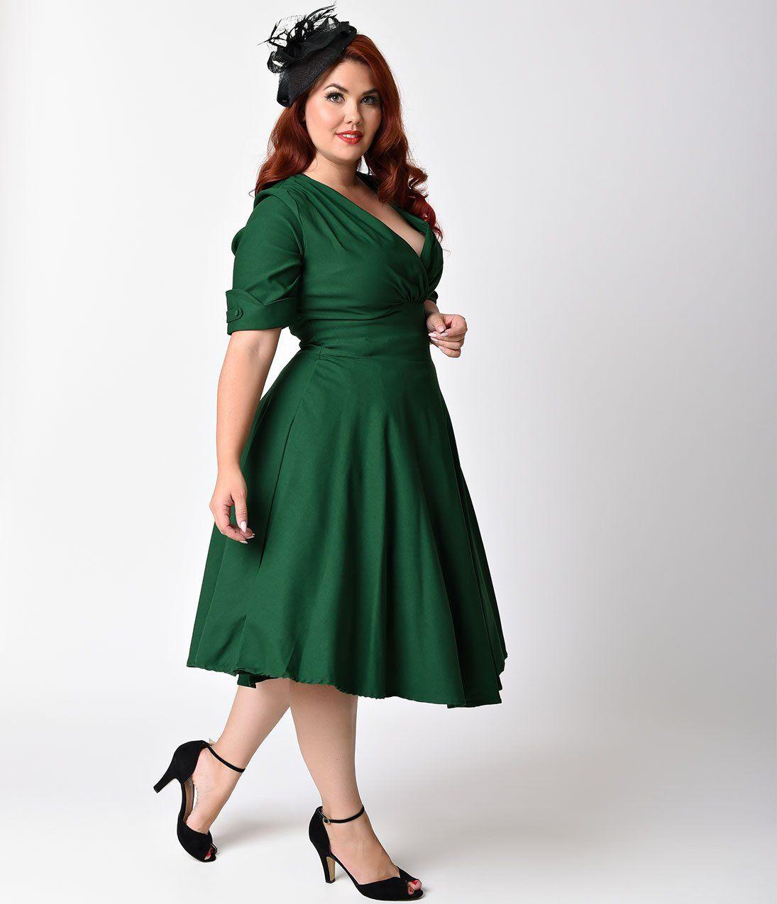 Unique Vintage Plus Size 1950s Emerald Green Delores Swing Dress With Sleeves Green Plus Size Dresses Bridesmaid Dresses Plus Size Knee Length Bridesmaid Dresses [ 1275 x 1095 Pixel ]