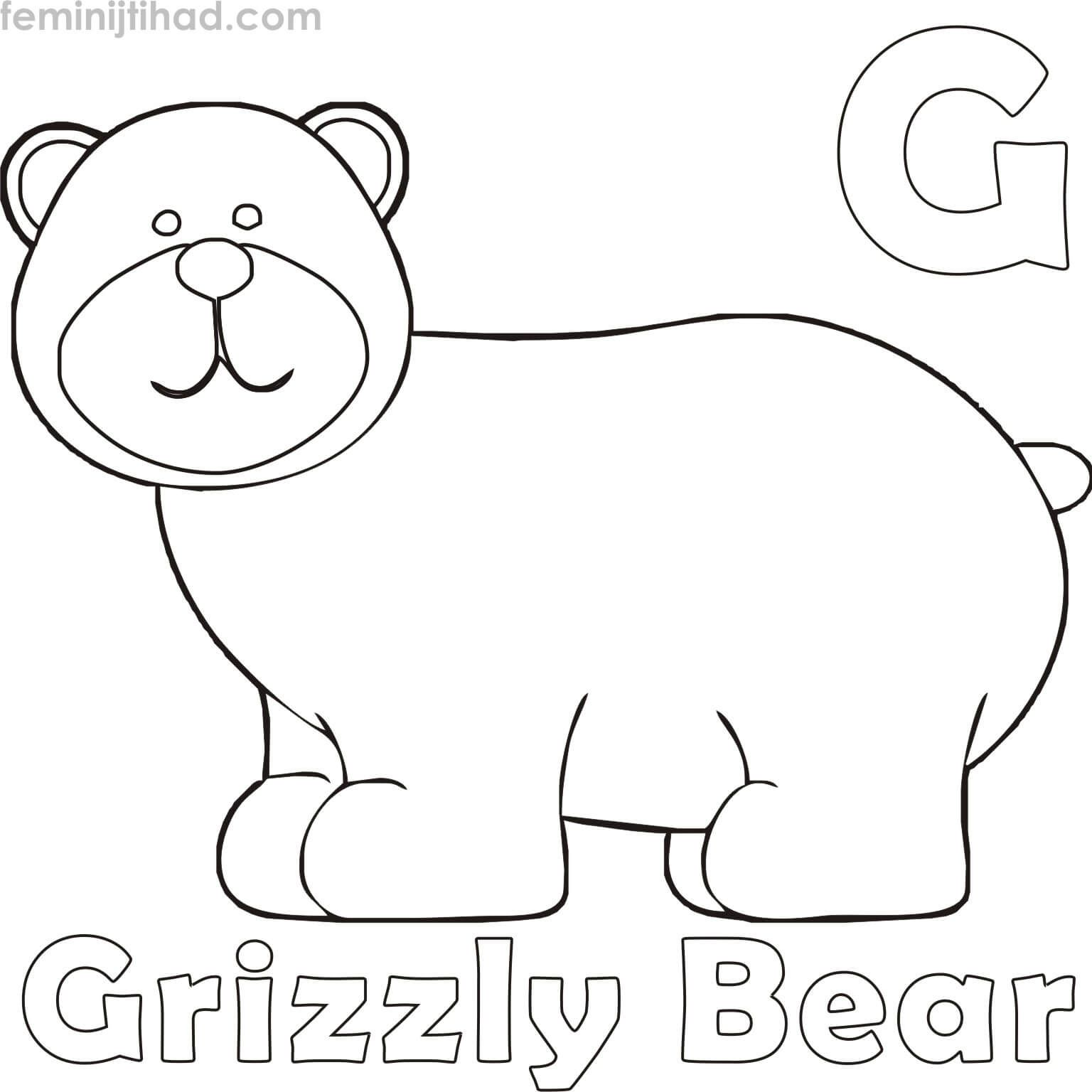Printable Grizzly Bear Coloring Pages