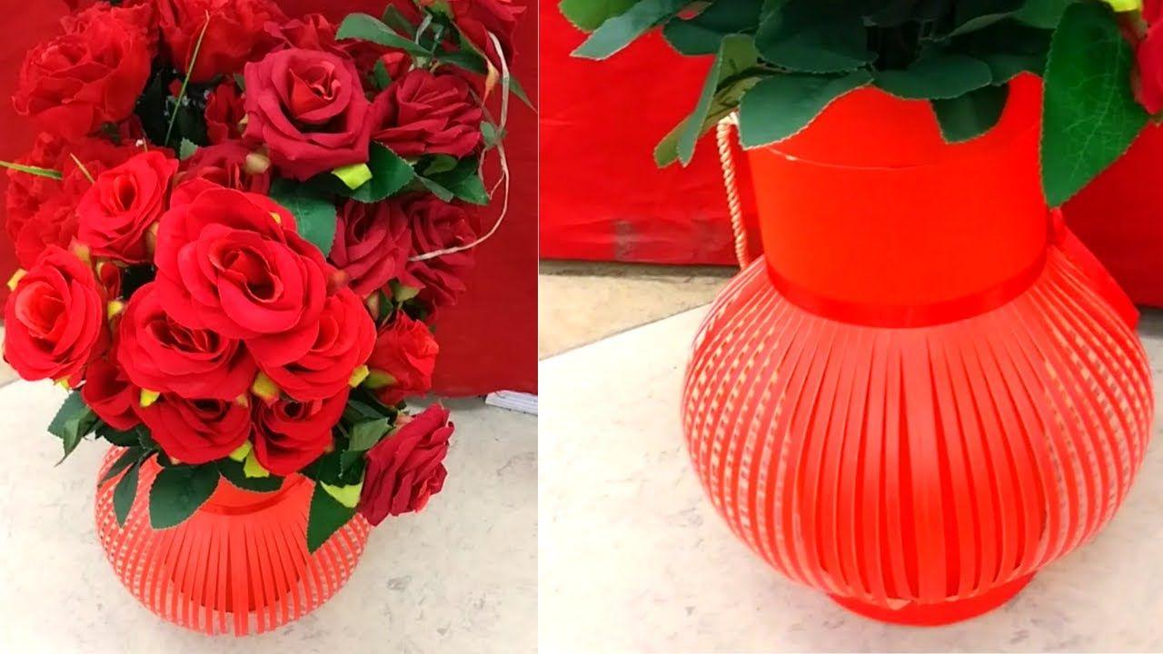 Flower Vase L Easy Paper Flower Vase How To Make Flower Vase At Home In 2020 Paper Flower Vase Flower Vase Design Vase Crafts