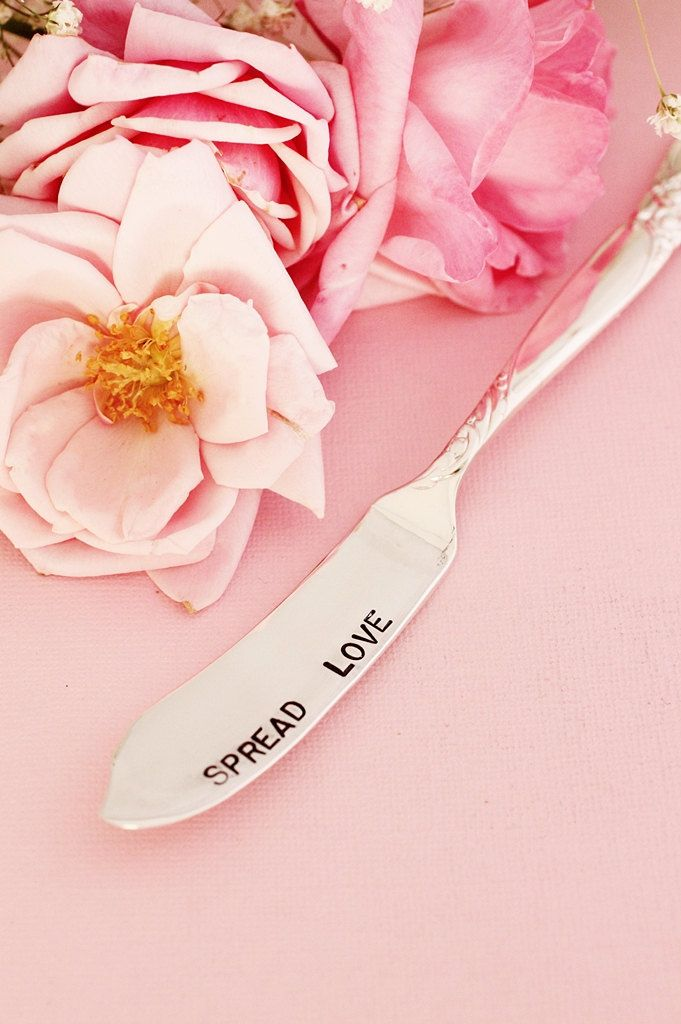 Spread Love Butter Knife Jam Spreader. Hand Stamped New Silver Plate Silverware…