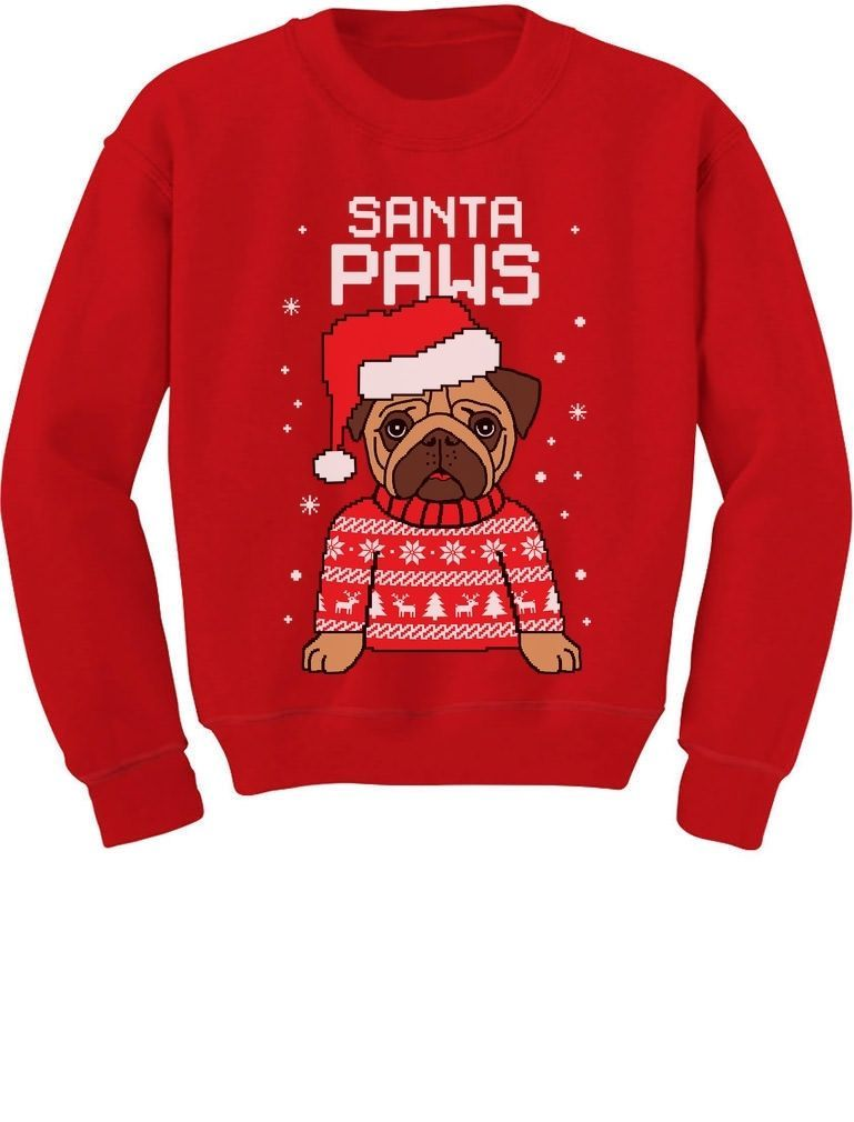 Santa Paws Pug Ugly Christmas Sweater Dog Singlet TeeStars