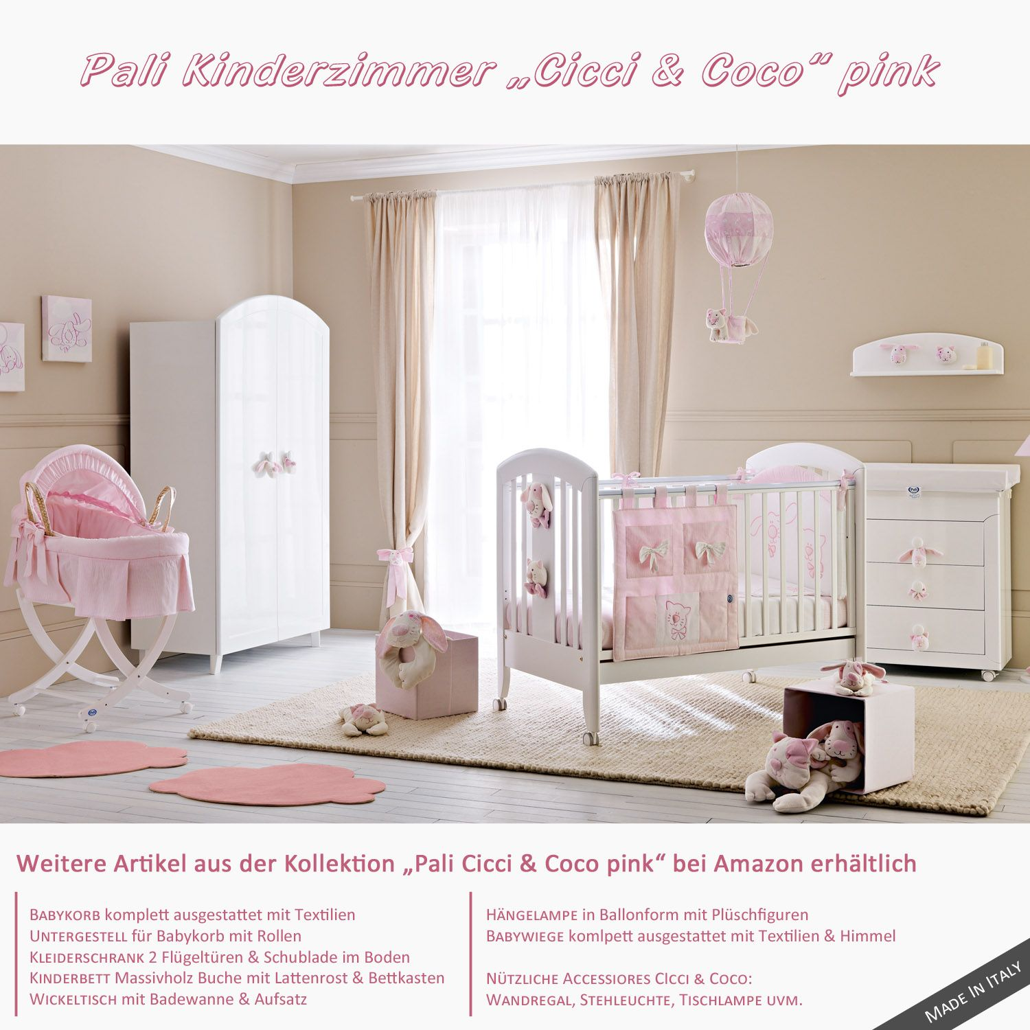 kinderzimmer f r m dchen in pink kinderm bel von pali cicci coco babyausstattung in pink. Black Bedroom Furniture Sets. Home Design Ideas