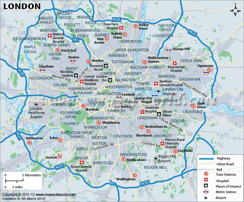 Map Of Uk Hospitals.London Map Shows The Highway Road Metro Airports Hospitals