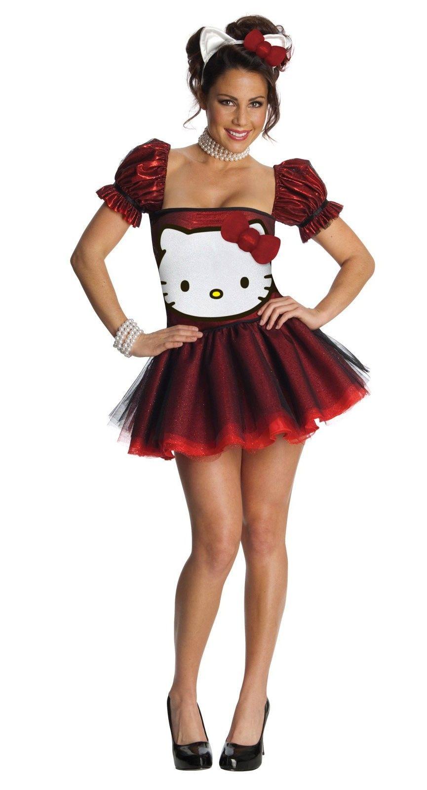 Hello kitty red glitter dress adult womenus costume hello kitty