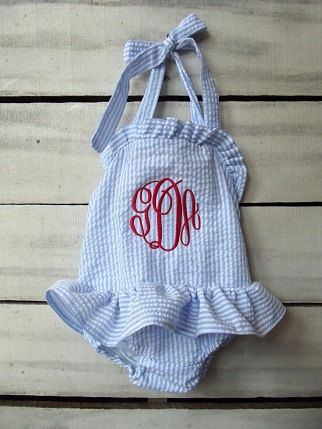 ef363d17a7f Girls monogrammed blue and white seersucker by dearbabyboutique1
