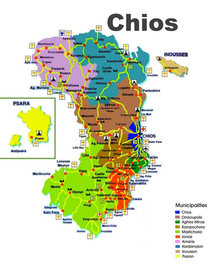 Chios tourist map Chios Pinterest Chios Tourist map and