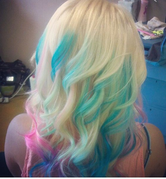 Cotton candy hair, platinum blonde, blue, pink and purple ...