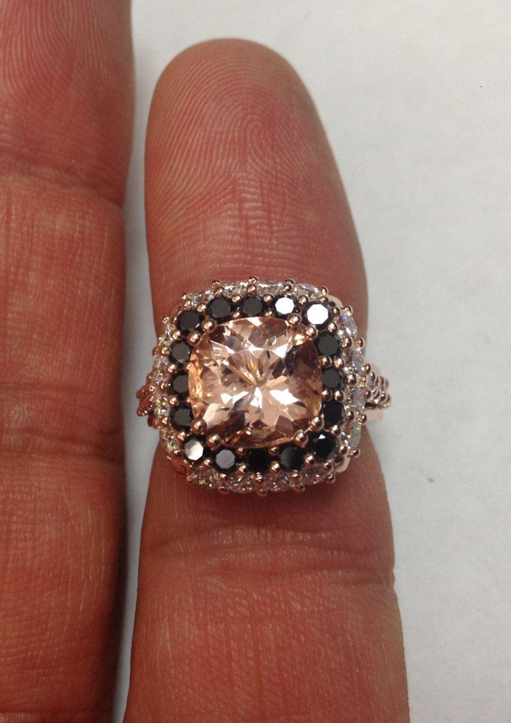 Unique Engagement Ring Black Diamond Wedding Ring Gemstone Engagement Ring 14K Rose Gold Ring Unique Gifts Morganite Fine Jewelry - V1096 by JewelryArtworkByVick on Etsy