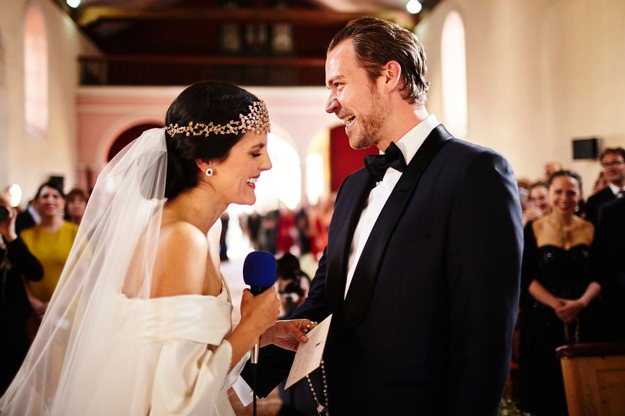 That was while I was saying my vows in German, I have no idea what was making us laugh so much at that moment!