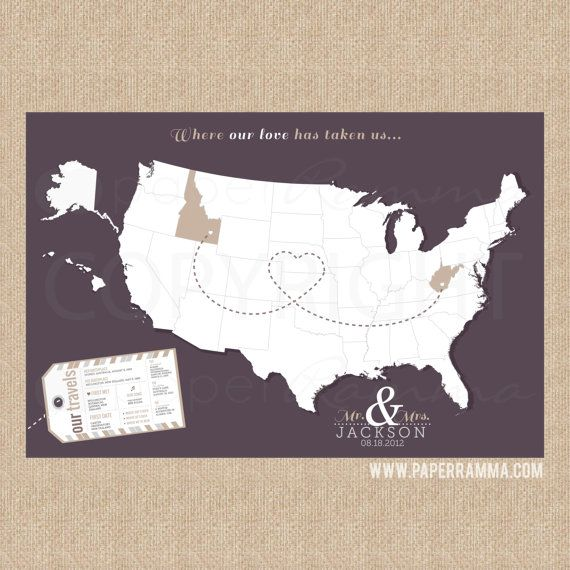 Interactive Wedding Ideas: Couples INTERACTIVE Map Print Design, Mark The Places You