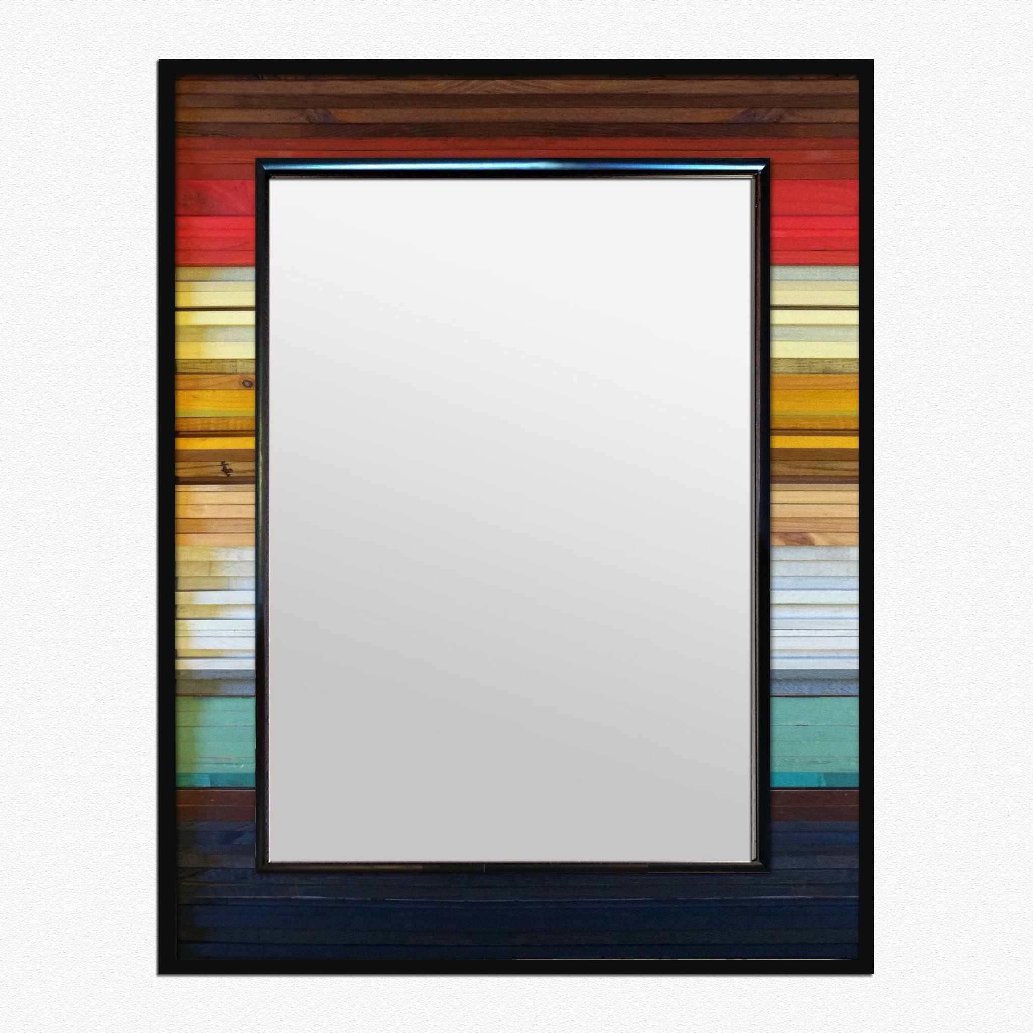 Upcycled Wall Art Gradient Reflection Wood Wall Art Wall Mirror Wood Wall Art