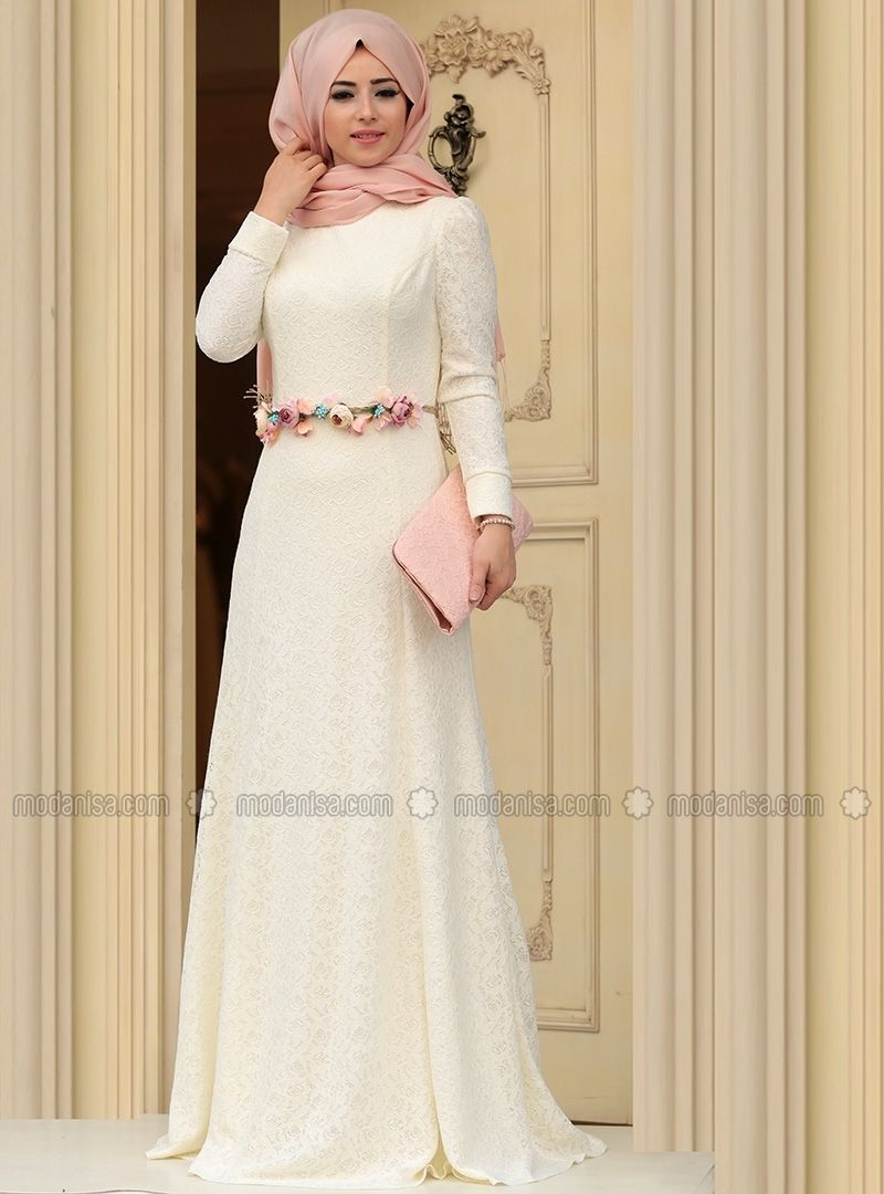 Hanin Evening Dress - Ecru - Zehrace | Muslimah Fashion & Hijab ...