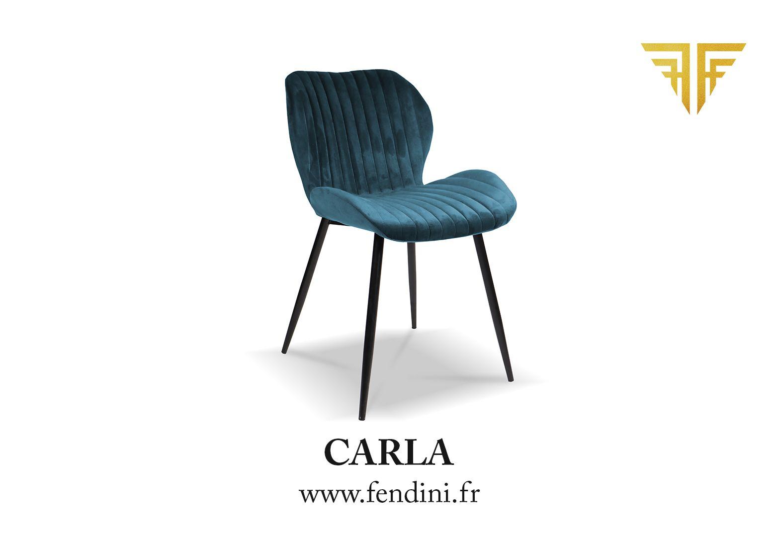 Chaise velours CARLA Bleu Canard by #Fendini Disponible en