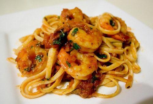 Shrimp with Creamy Tomato Pasta Recipe #cajunandcreolerecipes