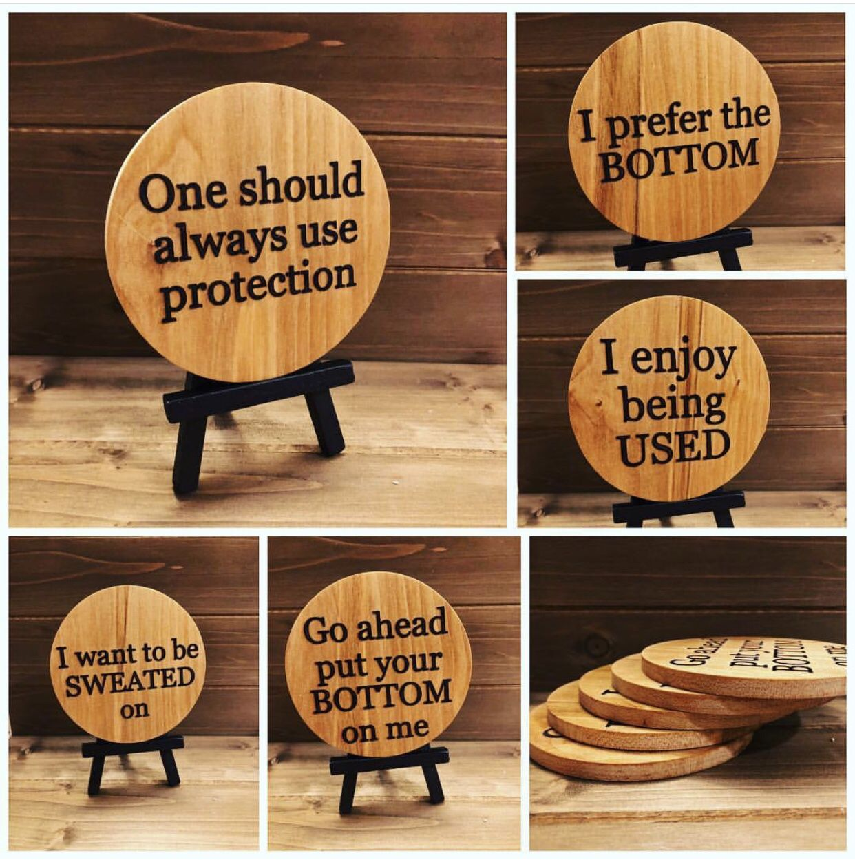 Funny Quote Coasters Wood Engraved Flirty Saying Bar Decor Wood Burning Crafts Engraved Wood Coasters Coaster Crafts