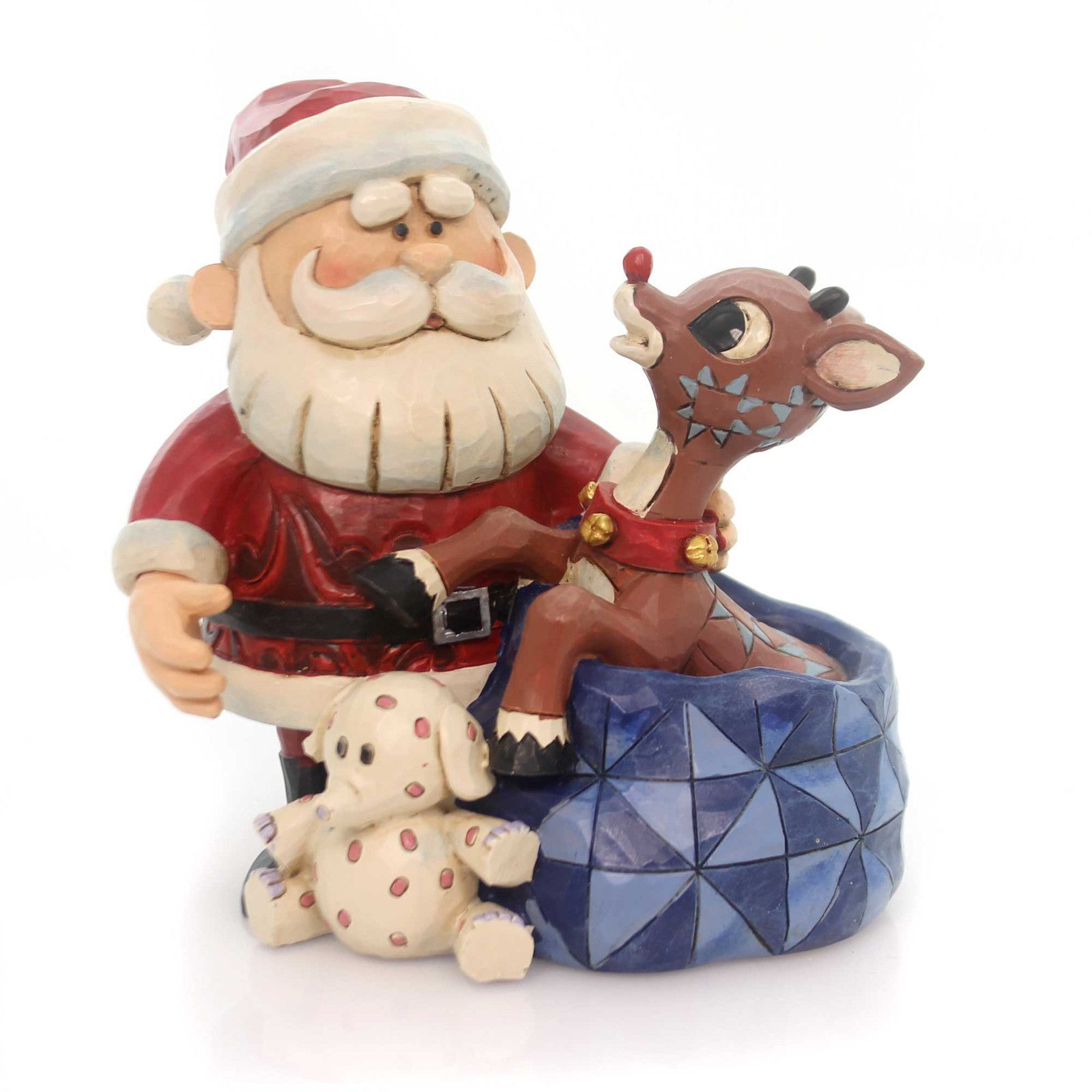 Jim Shore Santa/ Rudolph/ Blinking Nose Christmas Figurine
